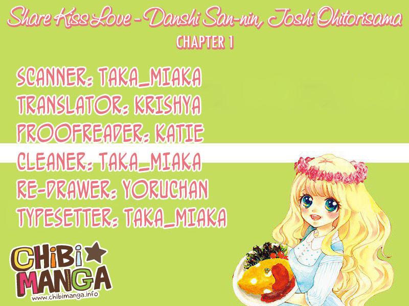 Share Kiss Love - Danshi San-nin, Joshi Ohitorisama 1 Page 1